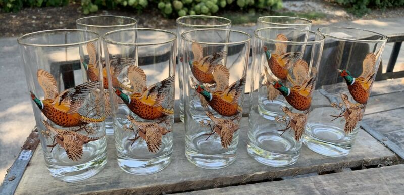 Set of 8 Vintage Pheasant Birds Clear Glass 12 oz Tumblers Drinking Glasses