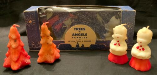 VINTAGE UNUSED CANDLES - TREES & CHOIR CHILDREN WITH BOX
