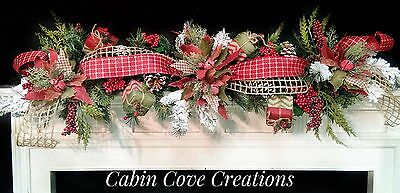 Country Christmas Decorate Mantel Decorated Swag Celebration Woodland Snow Flocked