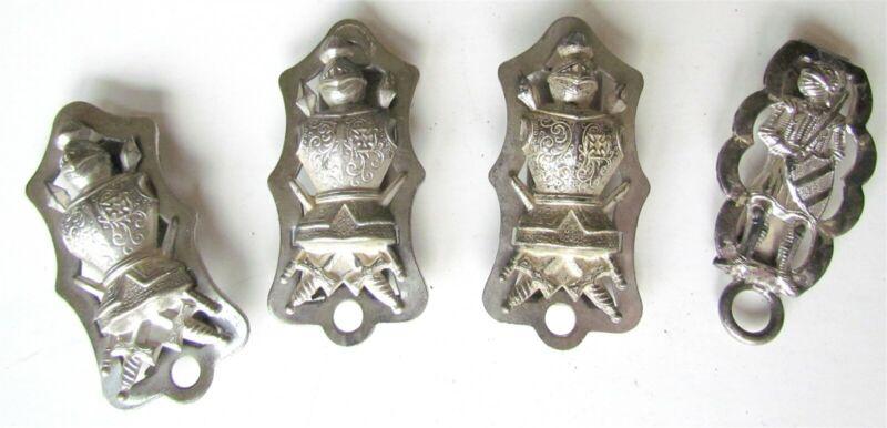 SET of 4 ANTIQUE SWORD HANGER HOLDERS for MASONIC KNIGHT of TEMPLAR UNIFORM BELT