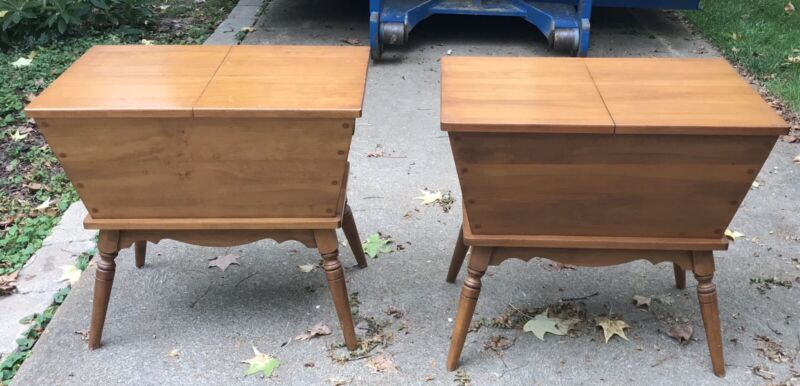 Pair Vintage Tell City Colonial Hard Rock Maple Dough Box / End Tables