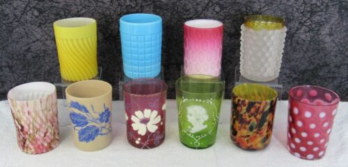 10 Assorted Antique Victorian Satin, Opalescent, Cranberry, EAPG Glass Tumblers