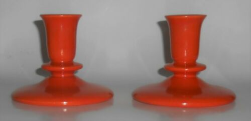 Franciscan Pottery El Patio Pair Flame Orange #96 Candlestick Holders