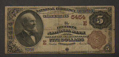 1882 $5 NATIONAL BANK NOTE - FREEDOM NB, PA 5454 BROWN BACK * GREAT NAME! (Pennsylvania Capital Name)