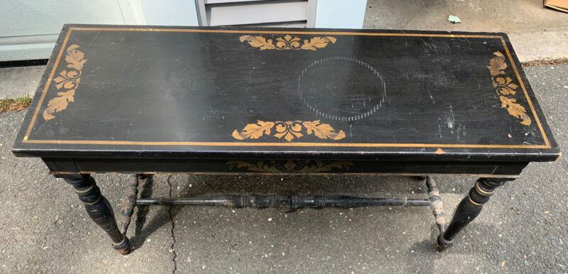 Antique Shabby Ebony Hitchcock Piano Bench Table