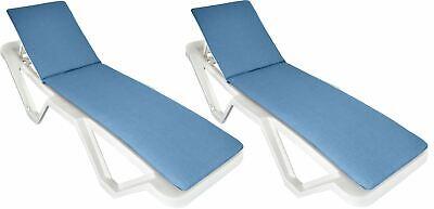 Navy Blue Sun Lounger Cushion Pad. Padded Cushion For Sunlounger Garden Bed x2