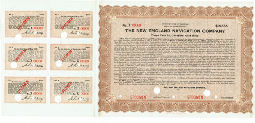 1.5.1914 NEW ENGLAND NAVIGATION COMANY NEW HAVEN CT 3 YEAR 6% $10,000 GOLD BOND