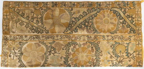 Antique Central Asian Suzani Fragment or Turkish Embroidered Table Cover