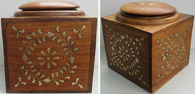 A Vintage Wooden Box Tea Caddy/Biscuit Barrel/Tobacco Canister Brass Inlay