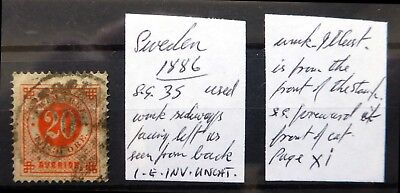 """SWEDEN 1886 SG35 Variety As Described """"AS IS"""" BE433"""