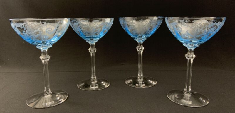 Fostoria VERSAILLES Azure Blue Champagne/Tall Sherbet Glasses 6 Etched FLAWS S/4