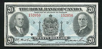 1935  20 Twenty Dollars The Royal Bank Of Canada Extremely Fine