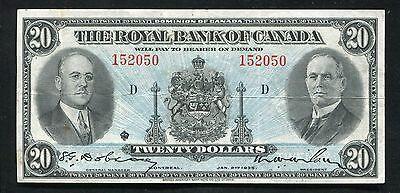 1935  20 Twenty Dollars The Royal Bank Of Canada Extremely Fine
