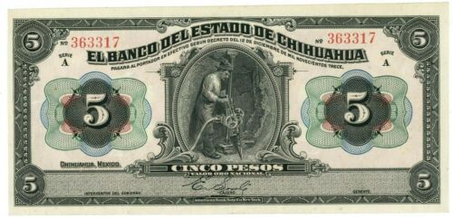 Mexico … P-S132a … 5 Pesos … D.1913 … Choice *VF-XF*.