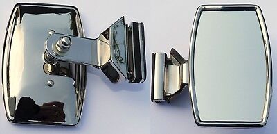 Clamp On StainlessSteel Quarterlight Rectangular Stadium Type Mirror with Rim