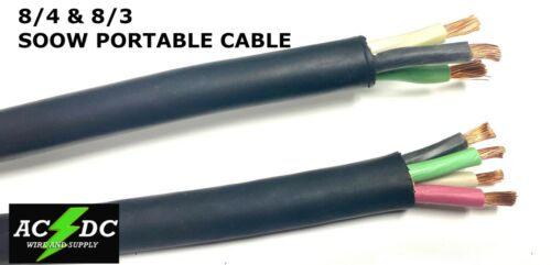 8/3-8/4 or 6/3-6/4 8 Gauge 6 AWG SOOW Cable Wire Cord Portable Power 600V USA