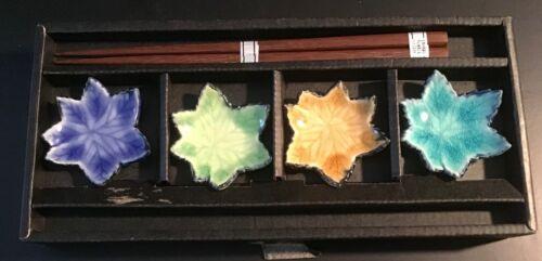 NEW - HI-QUALITY CHOPSTICKS & LEAF REST Set OF 4 - JAPANESE - CRACKLE GLAZE