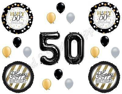 50th Fifty Happy Birthday Party Balloons Decoration Supplies Over The Hill Black - Fifty Birthday Decorations