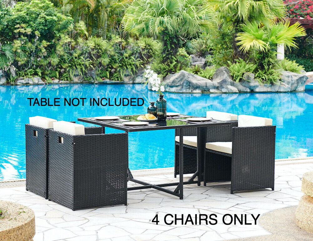 Garden Furniture - 4 Garden Furniture Dining Chairs Only PE Rattan New Low Back Patio Outdoor New