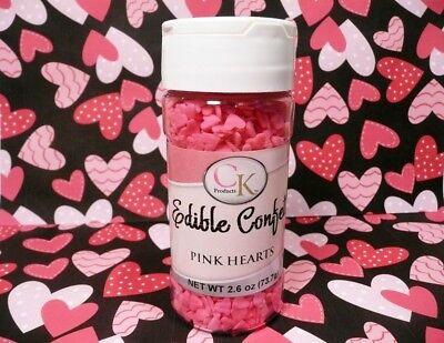 Cupcake Sprinkles (2.6 oz. Pink Heart Edible Confetti Sprinkles Valentines Cake Cupcake)