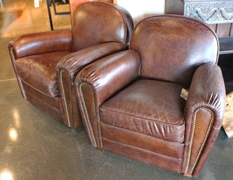 "34"" W Club Armchair Vintage Cigar Brown Leather Nail Head Trim Eebe7452"