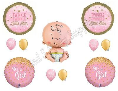 Baby Girl Supplies (TWINKLE LITTLE STAR BABY GIRL Shower Balloons Decoration Supplies Nursery)