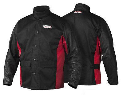 Lincoln K2987 Shadow Grain Leather Sleeved Welders Welding Jacket Xl