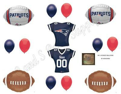 New England Patriots 13 PIECES! Birthday Party Balloons Decorations Super Bowl - Super Bowl Party Decorations
