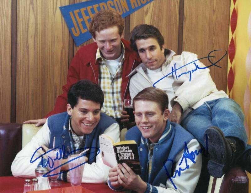 HAPPY DAYS CAST (X3) SIGNED AUTOGRAPH 11x14 PHOTO - RON HOWARD, HENRY WINKLER +1