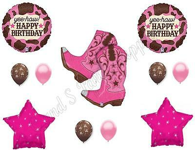 Pink Cowgirl Party Supplies (PINK COWGIRL BOOTS Happy Birthday Party Balloons Decoration Supplies Horse)