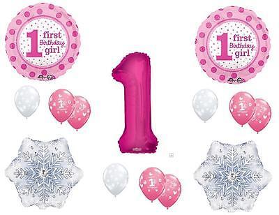 GIRL'S 1ST WINTER One-Derland Happy Birthday Party Balloons Decoration First](Winter First Birthday)