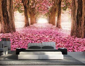 papier peint intisse trompe l 39 oeil photo murale relief 3d bois et fleur ebay. Black Bedroom Furniture Sets. Home Design Ideas