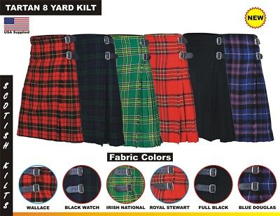 Men Scottish Kilts Tartan 8 Yard Kilt 13oz Highland Casual Kilt 6 colors
