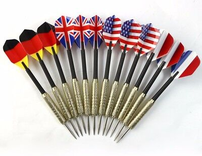 12 pcs (4 sets) Steel Needle Tip Dart Darts With National Flag Flight Flights