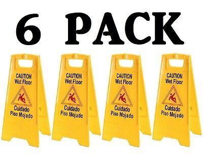 6 PACK Restaurant Caution Wet Mop Bucket Floor Yellow Folding Sign Commercial