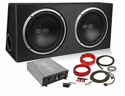 "Belva BPKG 2 12"" inch Powered Car Subwoofers in Box with Amplifier & Kit Package"