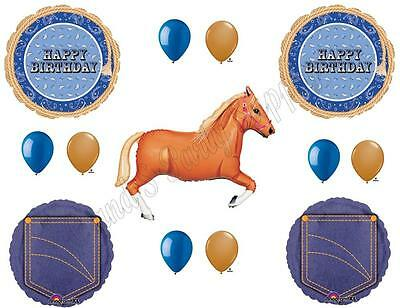 BLUE BANDANA & TAN HORSE HAPPY Birthday Party Balloons Decoration Supplies Denim](Denim Party Supplies)
