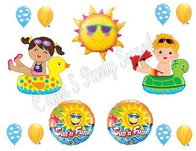 POOL PARTY Swimming Birthday Balloons Decoration Supplies Ocean Floaties Luau