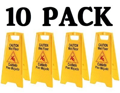 10 Pack Caution Wet Floor Signs Yellow Two Sided Warning Fold Up Anti-slip