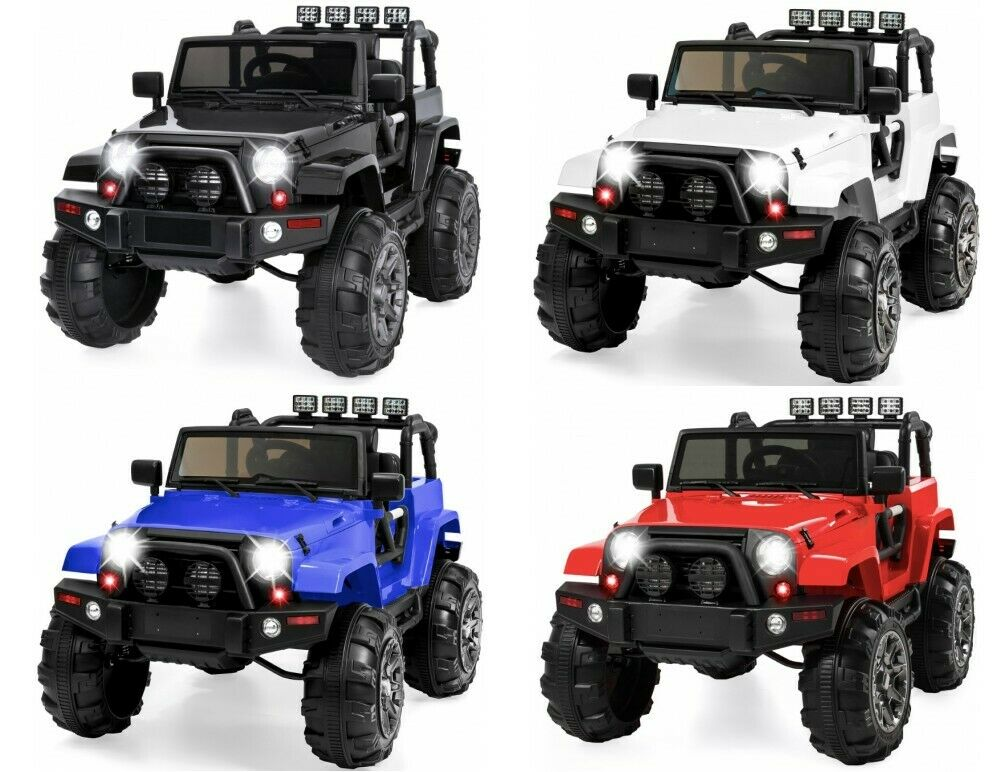 Kids 12v Ride On Jeep 3 Speeds Remote Control LEDs Radio Bir