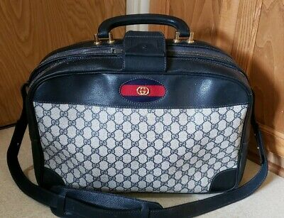 Vintage GUCCI GG Monogram Leather Carry On Garment Shoulder Bag Purse Rare