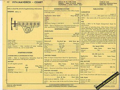 1974 FORD MAVERICK MERCURY COMET 200 ci Engine Car SUN ELECTRIC SPEC SHEET