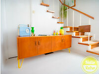 HELLO RETRO TEAK MID CENTURY TEAK G PLAN SIDEBOARD RECORD STORAGE ON HAIRPIN LEGS