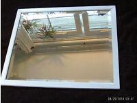 antique white wooden bevelled edge mirror 55x45cm