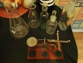 Assortment of glass bottles, science, ideal for halloween party