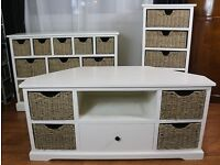 £150.00 for the lot Shabby chic TV stand, Sideboard chest of drawers & Tallboy