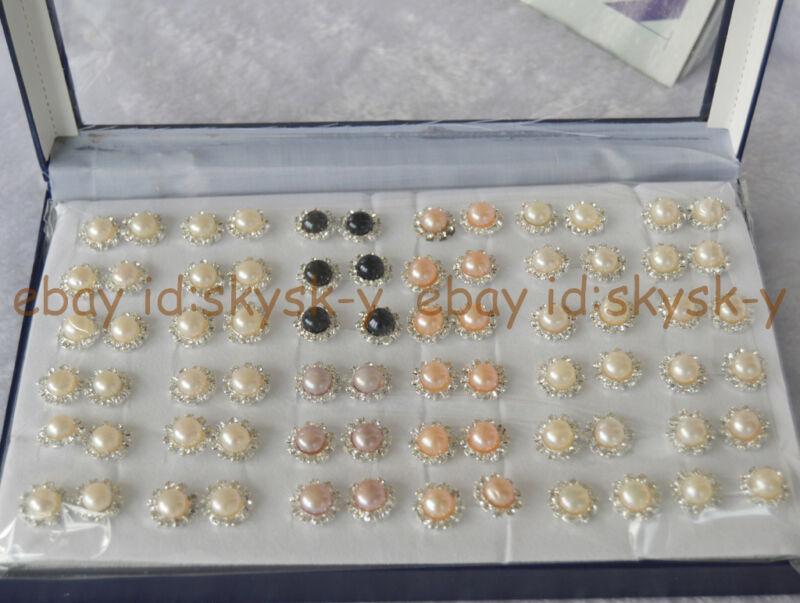 Wholesale 36 Pairs 8-9mm Real Natural Pearl Earring Crystal Rhinestone Earring