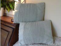 pair faux suede pale green cushions 44x33cm