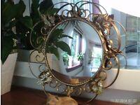 Convex vintage antique gold mirror 38 cm diameter inc frame