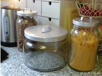 3 large heavy glass storage jars with lids